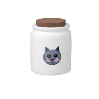 Cartoon Cat Face Candy Jar