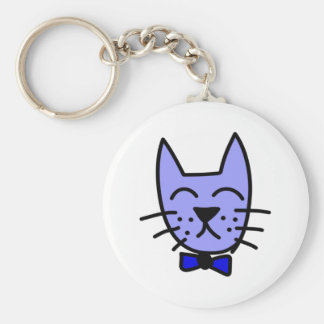 Cartoon Cat Face with Bow Tie Keychain