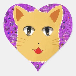 Cartoon Cat Heart Sticker