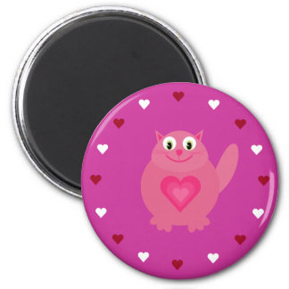 Cartoon Cat & Hearts Customizable Pink Charity 2 Inch Round Magnet