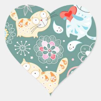 Cartoon Cat Illustration Heart Sticker