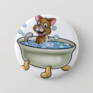 Cartoon Cat in Bath Pinback Button