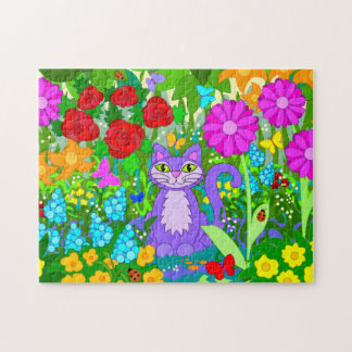 Cartoon Cat in Garden Flowers Ladybugs Butterflies Jigsaw Puzzle