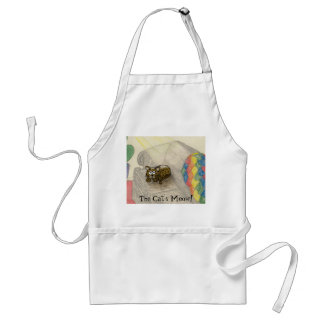 cartoon cat laying on a couch in a sun beam adult apron