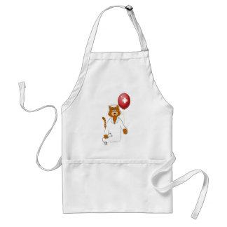 Cartoon Cat Nurse with Balloon Apron
