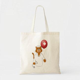 Cartoon Cat Nurse with Balloon Canvas Bag