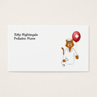 Cartoon Cat Nurse with Balloon Business Card