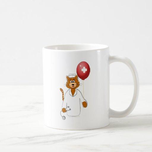 Cartoon Cat Nurse with Balloon Coffee Mug