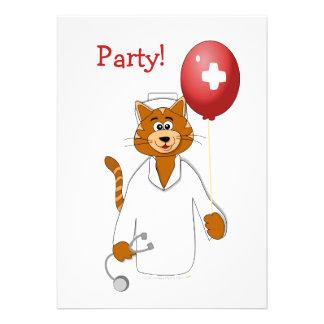 Cartoon Cat Nurse with Balloon Custom Announcement