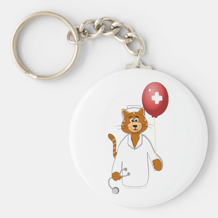 Cartoon Cat Nurse with Balloon Keychain