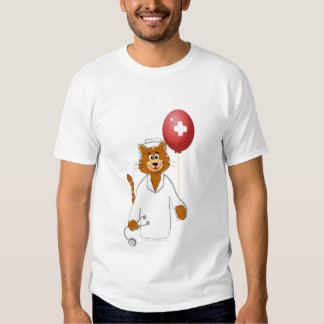 Cartoon Cat Nurse with Balloon T-Shirt
