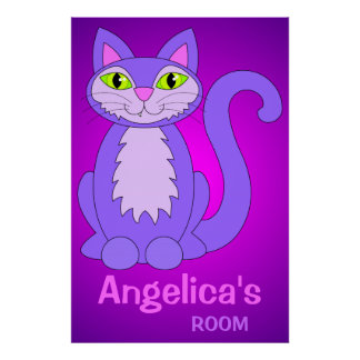 Cartoon Cat Personalized Name Room Poster