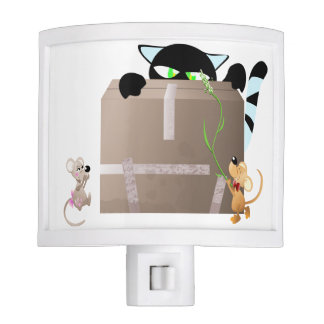 Cartoon cat playing with mouses night light