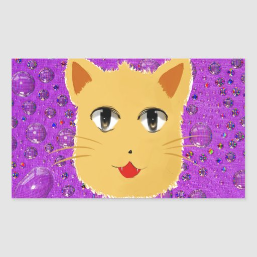 Cartoon Cat Rectangle Sticker