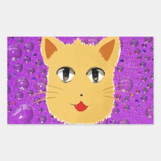Cartoon Cat Rectangular Sticker