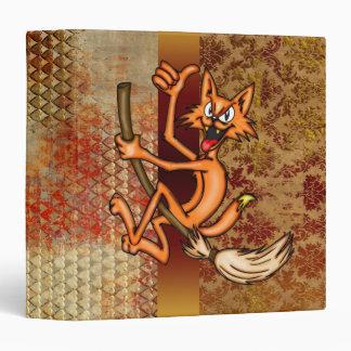 Cartoon Cat Riding Witches Broomstick Binder