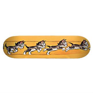 Cartoon Cat Running and Jumping Skateboard