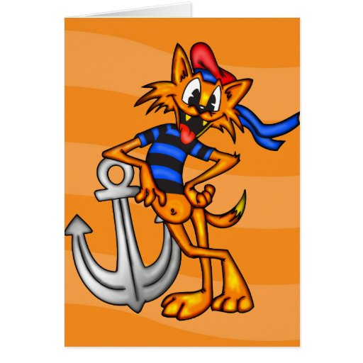 Cartoon Cat Sailor Card