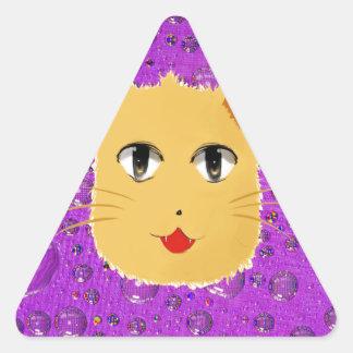 Cartoon Cat Triangle Sticker