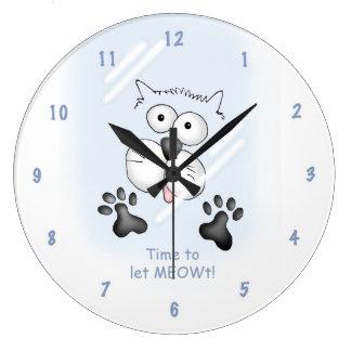 """Cartoon cat """"Time to let MEOWt!"""" clock. Large Clock"""