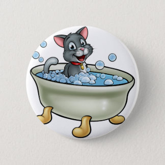 Cartoon Cat Washing in the Bath Pinback Button