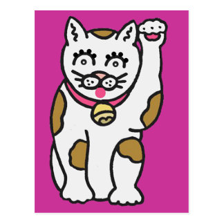 Cartoon Cat waving its paw - Maneki-neko Postcard