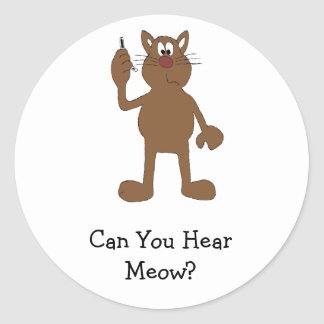Cartoon Cat With Cell Phone Classic Round Sticker