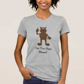 Cartoon Cat With Cell Phone T-Shirt