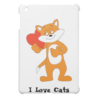 Cartoon Cat With Heart iPad Mini Cover