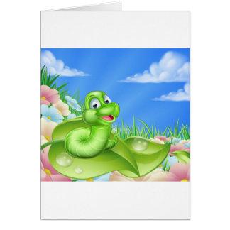 Cartoon Caterpillar in Meadow Card