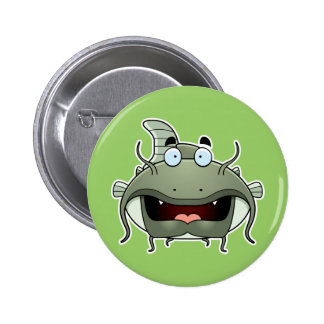 Cartoon Catfish Pinback Button