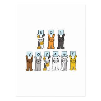 Cartoon cats Bon Voyage Post Cards