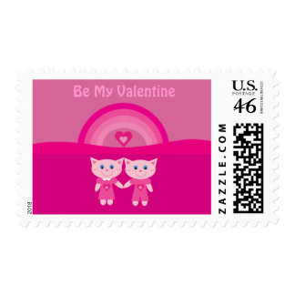 Cartoon Cats Rainbow Hearts Be My Valentine Pink Stamps
