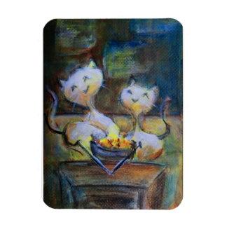 Cartoon Cats - TV dinner Rectangular Photo Magnet