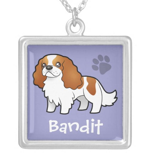 Cartoon Cavalier King Charles (add pets name) Square Pendant Necklace