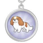 Cartoon Cavalier King Charles Round Pendant Necklace