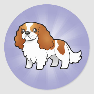 Cartoon Cavalier King Charles Spaniel Classic Round Sticker