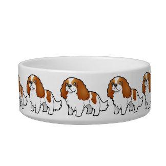 Cartoon Cavalier King Charles Spaniel Cat Bowls
