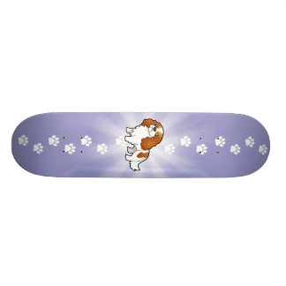 Cartoon Cavalier King Charles Spaniel Skateboard Deck