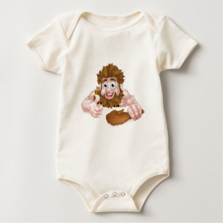 Cartoon Caveman Above Sign Baby Bodysuit