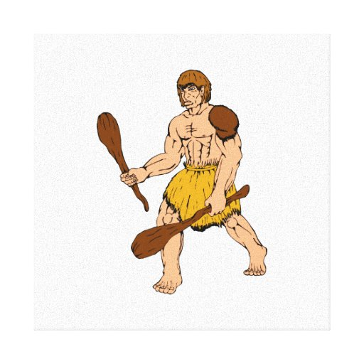cartoon caveman holding club canvas print