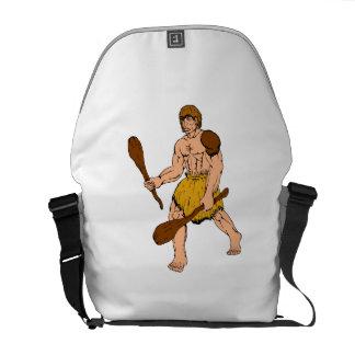 Cartoon Caveman Holding Club Commuter Bag