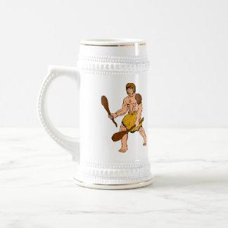cartoon caveman holding club mugs