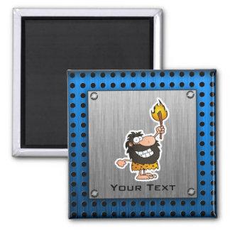 Cartoon Caveman; Metal-look 2 Inch Square Magnet