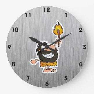 Cartoon Caveman; Metal-look Large Clock