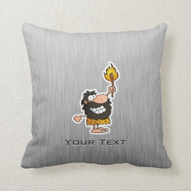 Cartoon Caveman; Metal-look Pillows