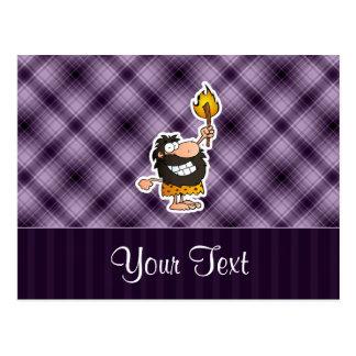 Cartoon Caveman; Purple Postcard