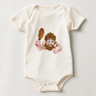 Cartoon Caveman Thumbs Up Sign Baby Bodysuit