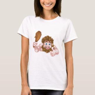Cartoon Caveman Thumbs Up Sign T-Shirt