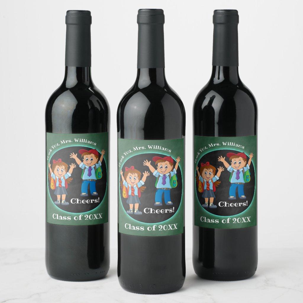 Cartoon Chalkboard Teacher Thank You Wine Label